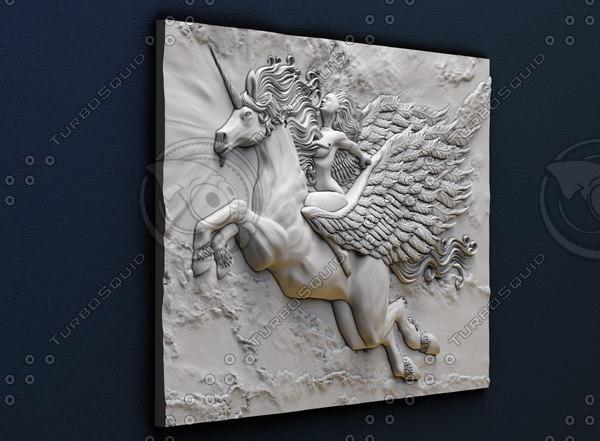 3d model of bas-relief girl pegasus