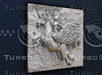 3d model of bas-relief girl pegasus