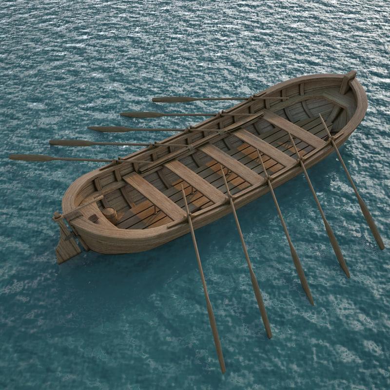 medieval rowboat 3d model