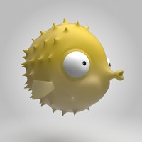 3d fish blowfish blow