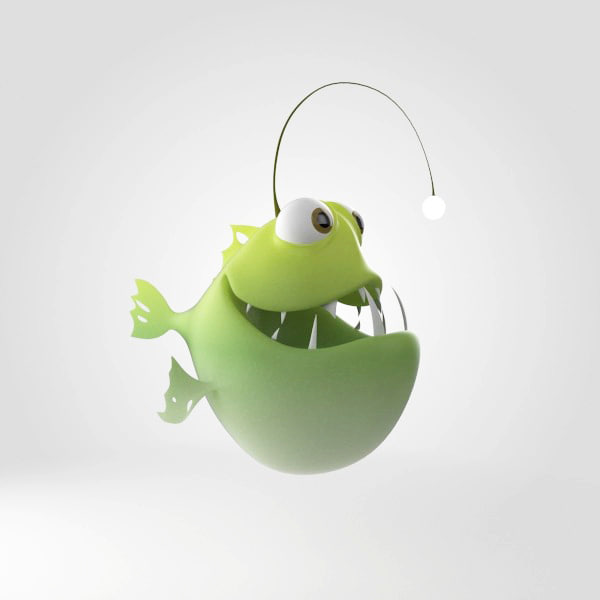 3d angler fish anglerfish model