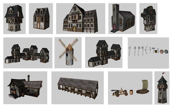 medieval games buildings 3d model