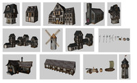medieval games buildings 3d model