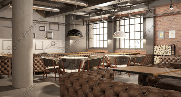 ready big restaurant project 3d model