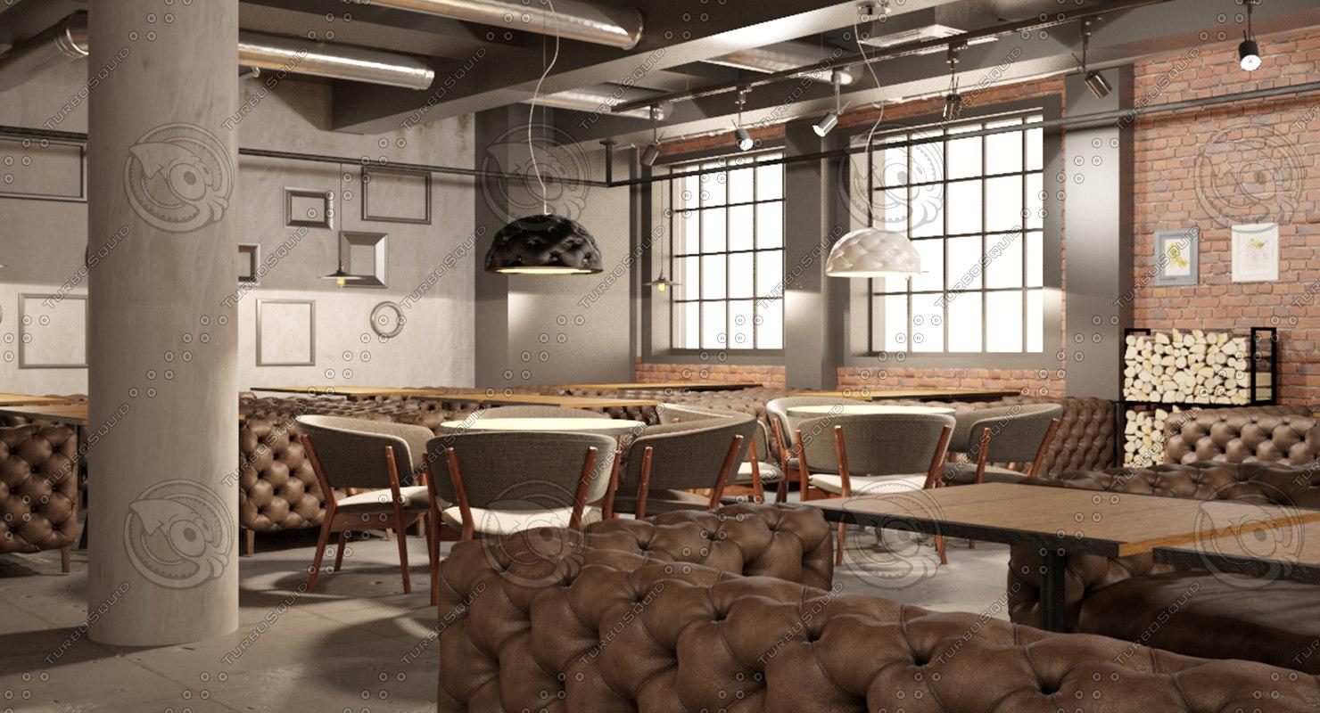 ready big restaurant project 3d model