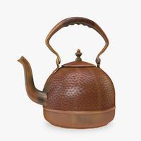 3d traditional hammer copper teapot