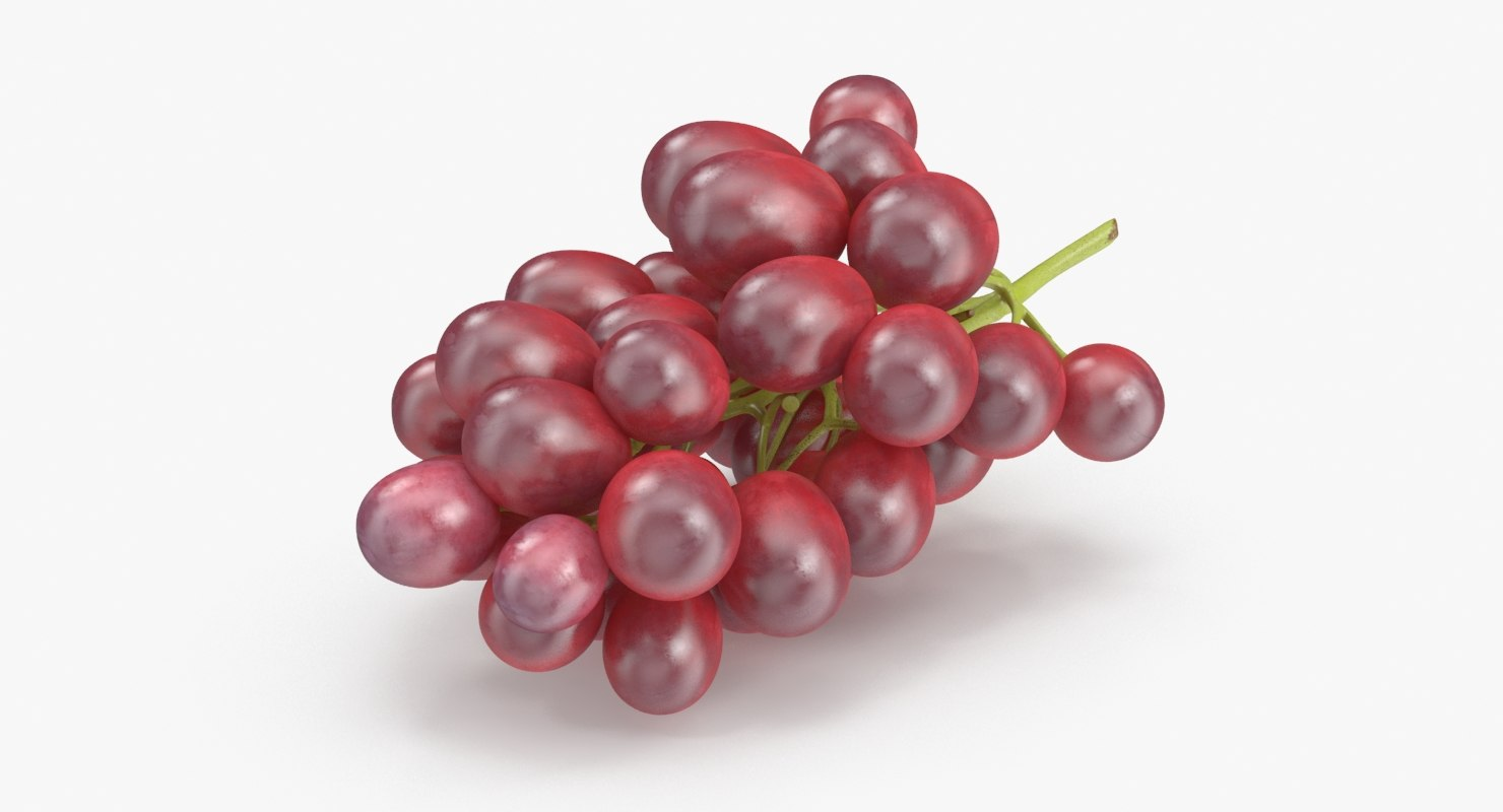 3d bunch red grapes