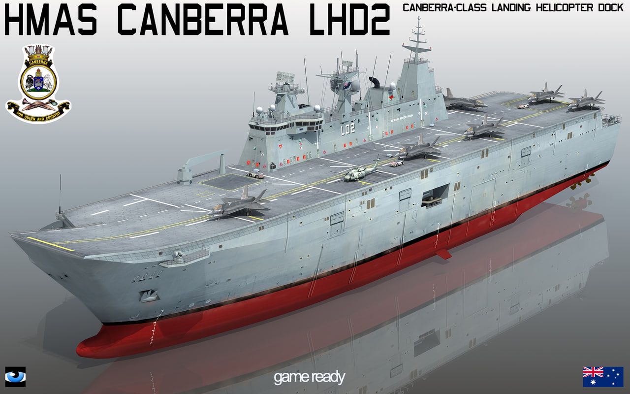 Lead Flagship Landing Helicopter Carrier Of Canberra Cl Docked In Sydney Woolloomooloo Cowper Wharf On