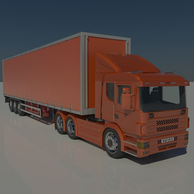 3d contains trailer tractor model