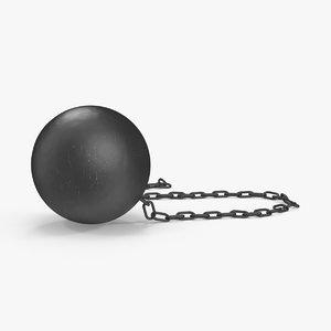3d model of broken ball chain