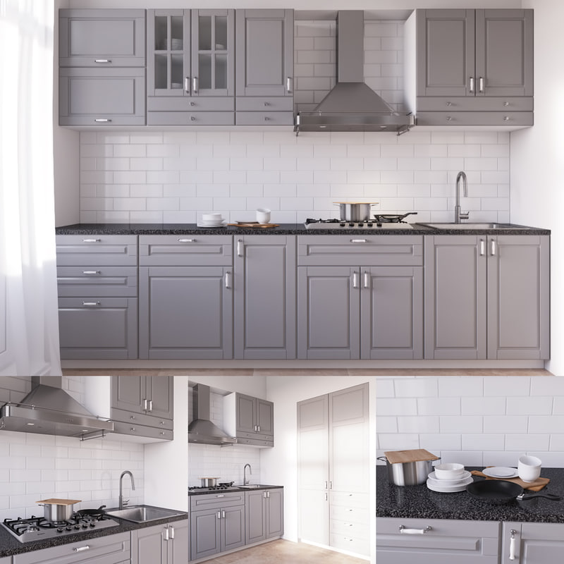 Traditional White Kitchen Design 3d Rendering: Ikea Bodbyn 3d Model