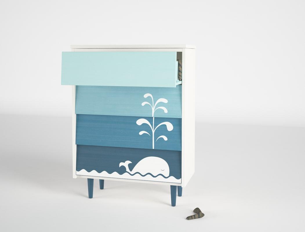 3d model kids cabinet whale socks