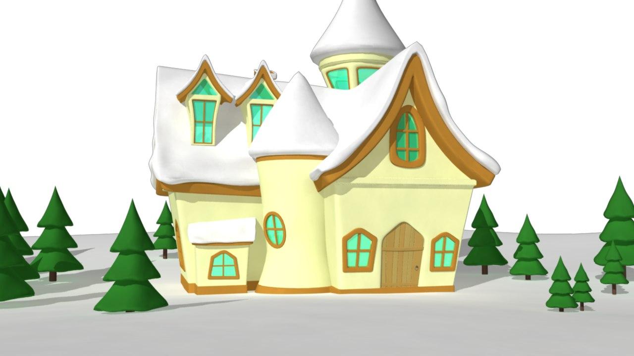 obj winter cartoon house