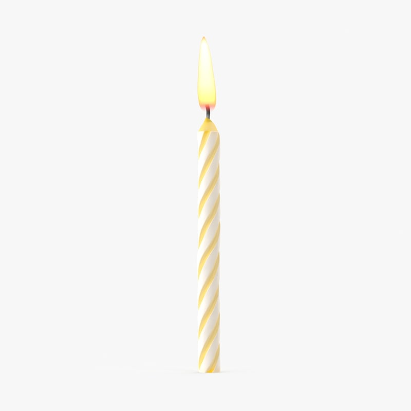 3d yellow birthday candle 1
