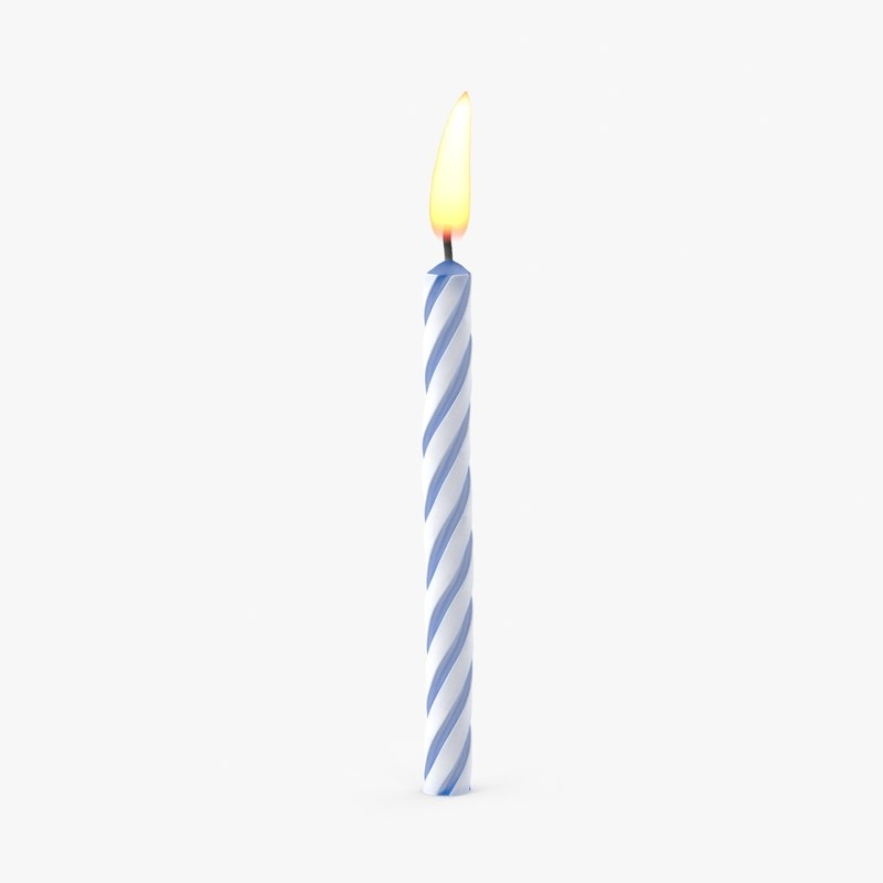 3d model of blue birthday candle