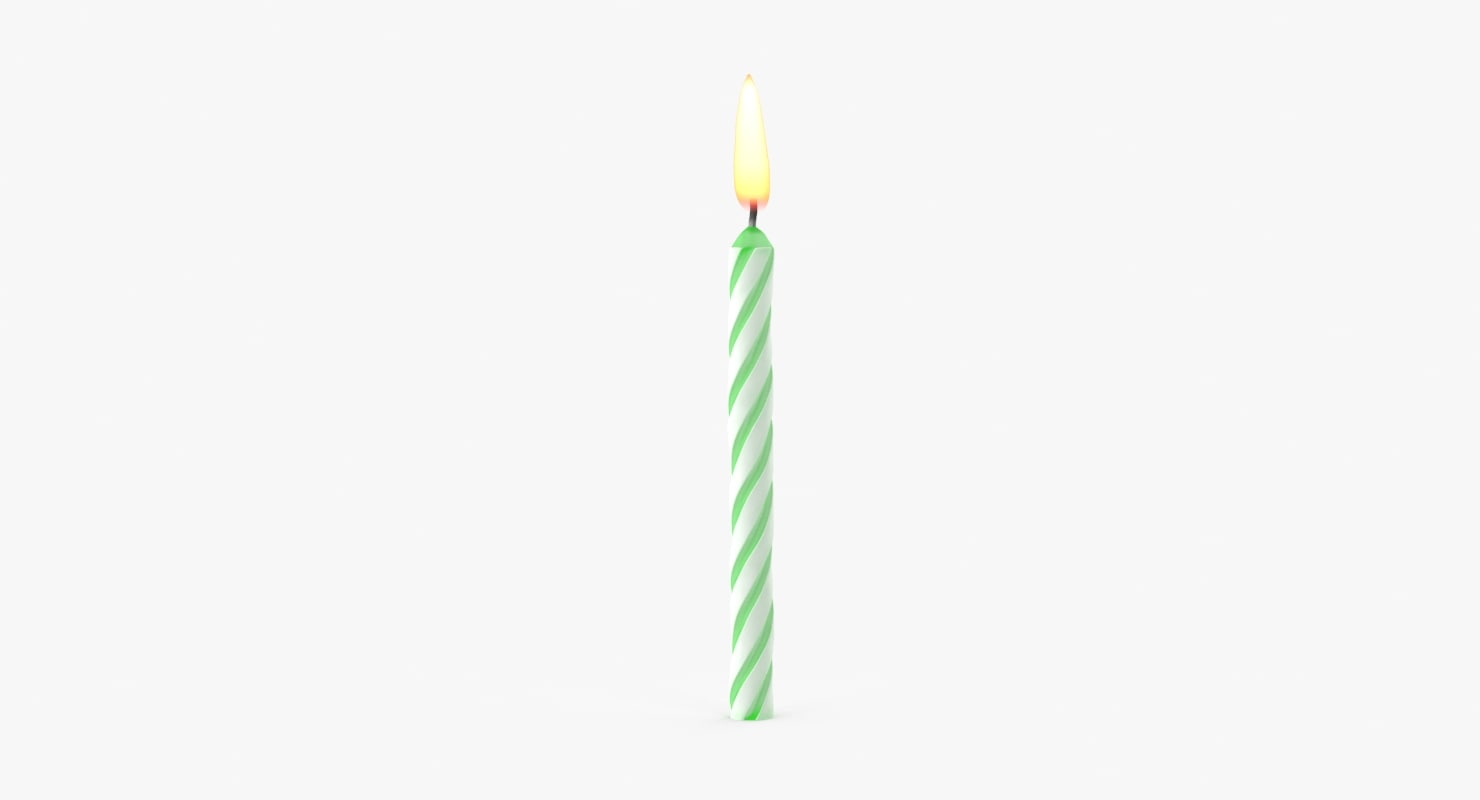 3d green birthday candle model