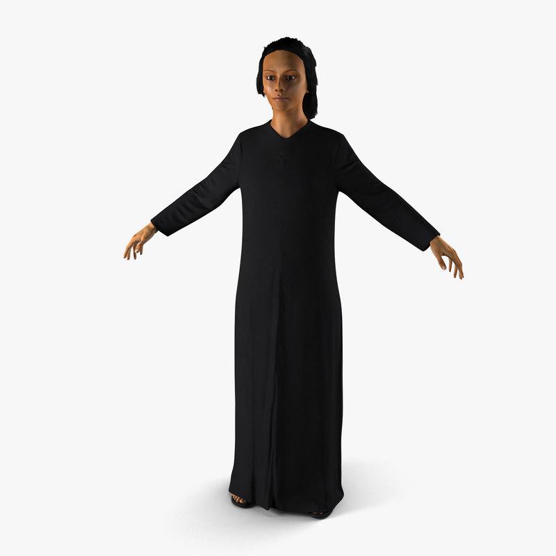 arabian woman black abaya 3d max
