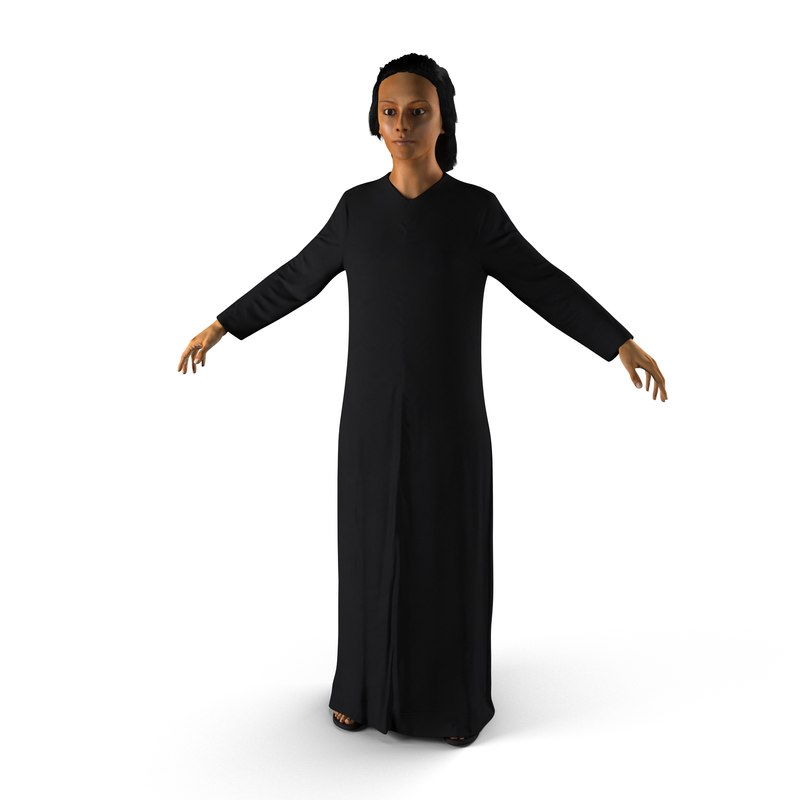 arabian woman black abaya 3d max