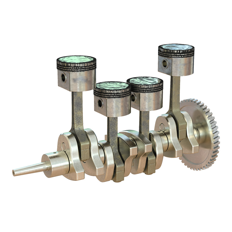 engine piston crankshaft 3d model