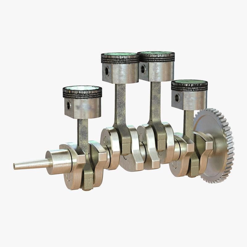 engine piston crankshaft rigged max