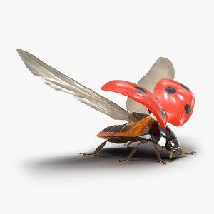 3d model flying ladybug fur