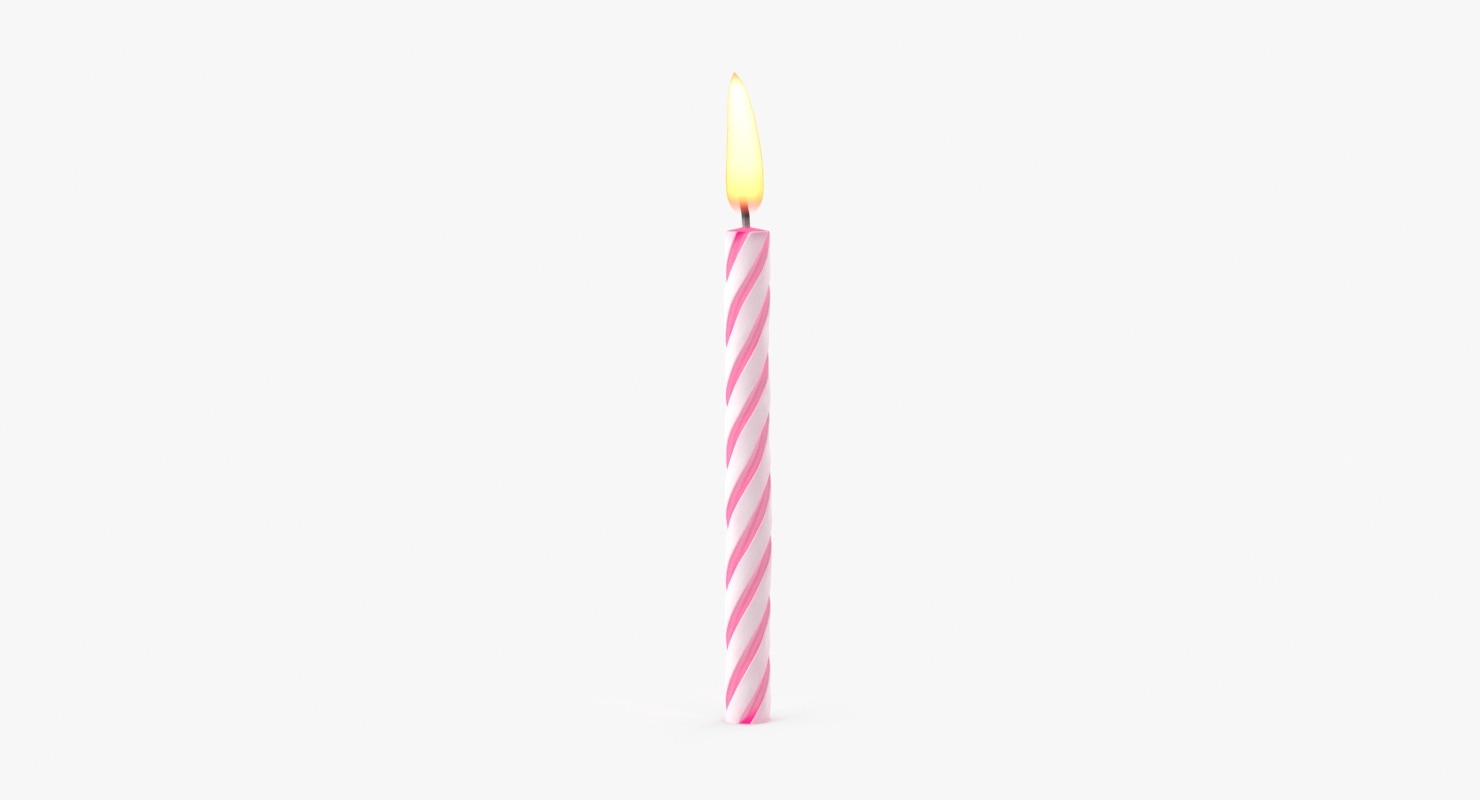 3d model pink birthday candle