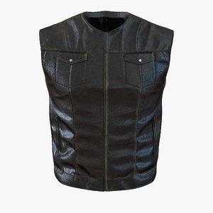 3d model of leather biker vest generic