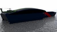3d model trimaran military ship