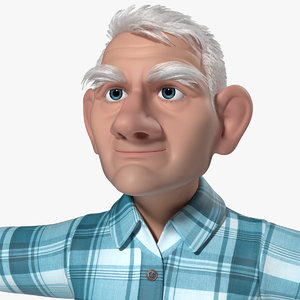 3d model tom old man cartoon animation