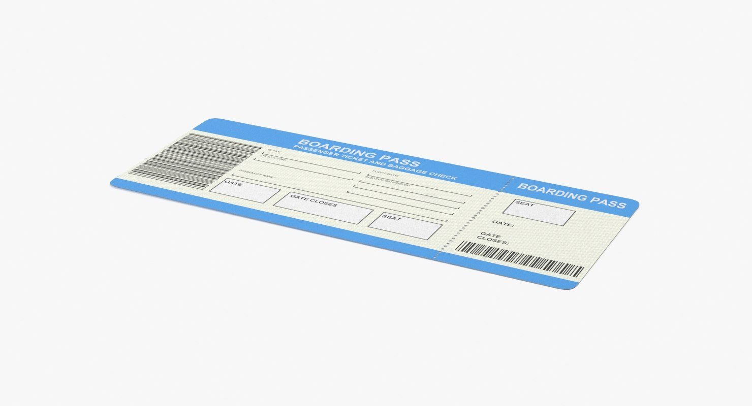 airline ticket 3d model