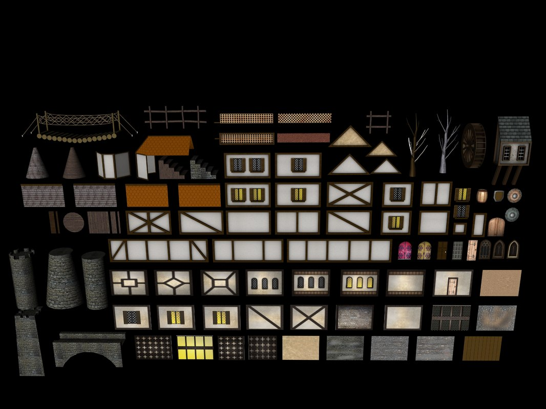 3ds materials assets medieval buildings