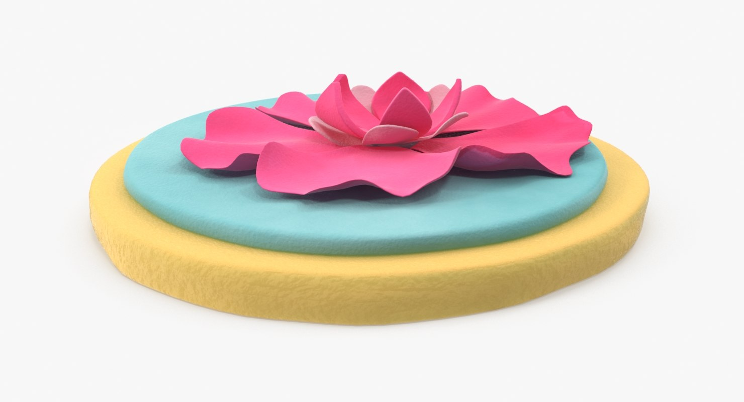 3d model sugar cookie blue icing