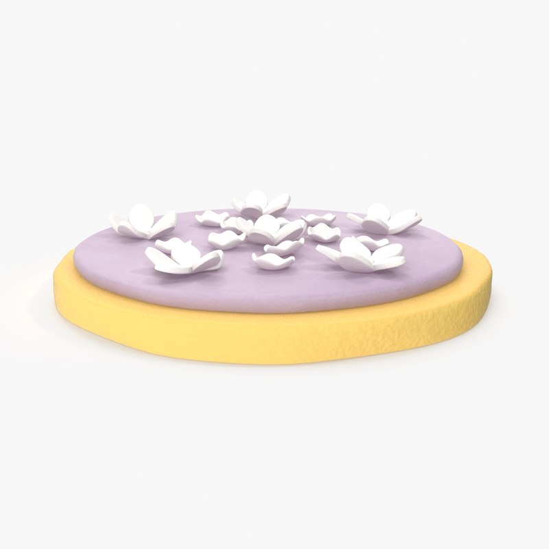 3d model sugar cookie purple icing