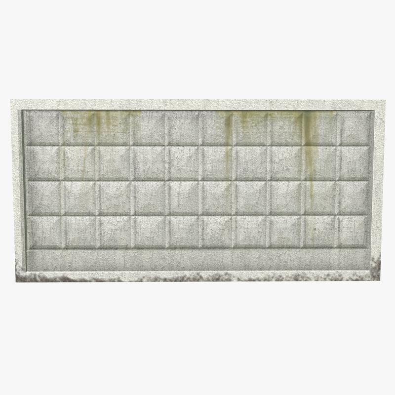 ready low-poly concrete fence 3d max