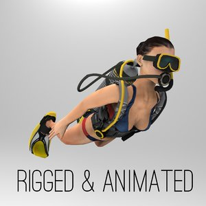 3d model of female scuba diver dive