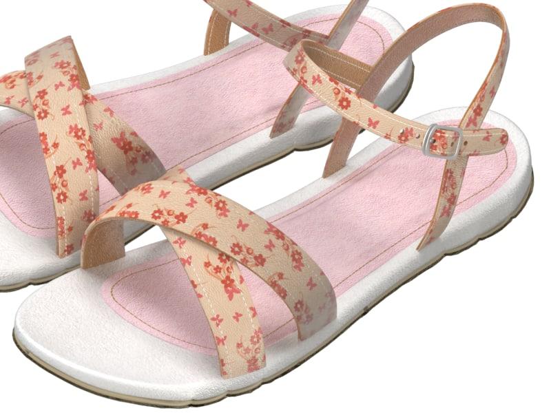 3d model shoes girl