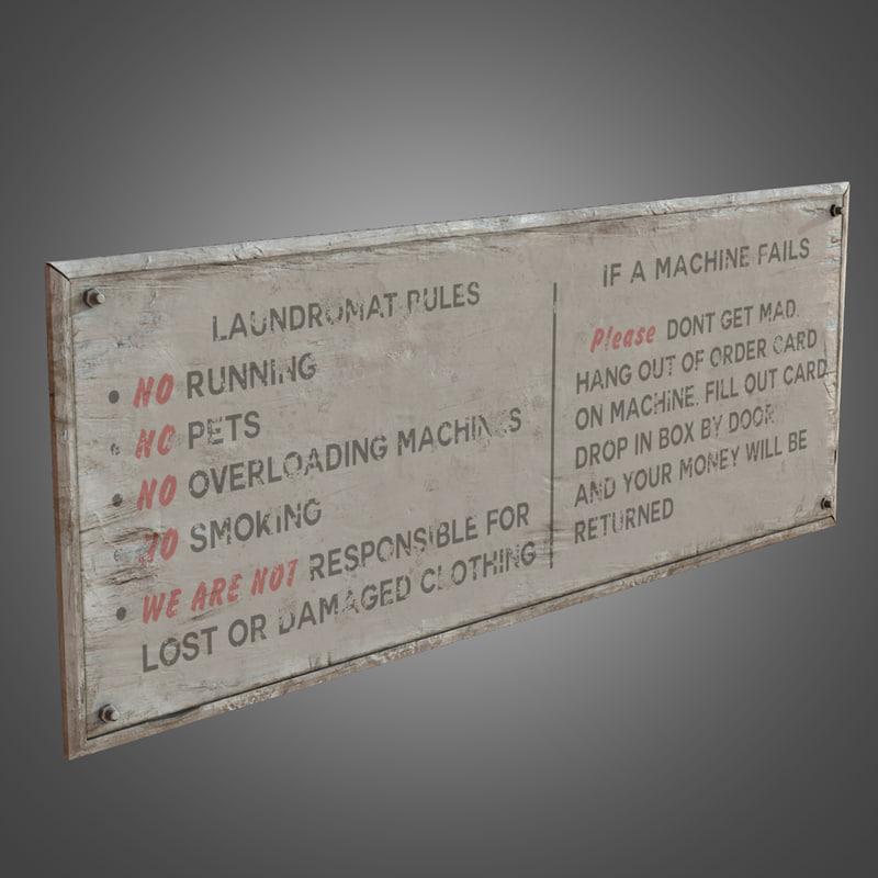 laundromat rules sign - 3d model