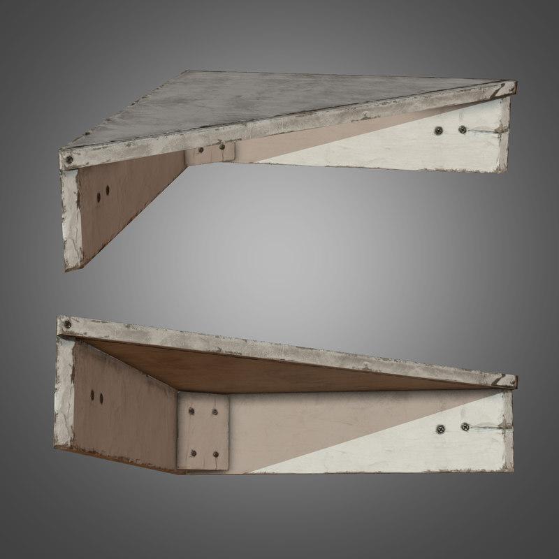3d wooden corner stand - model