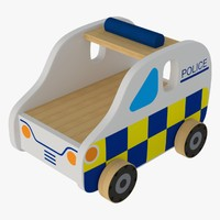 wooden toy police car 3d model