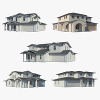 3d family houses model