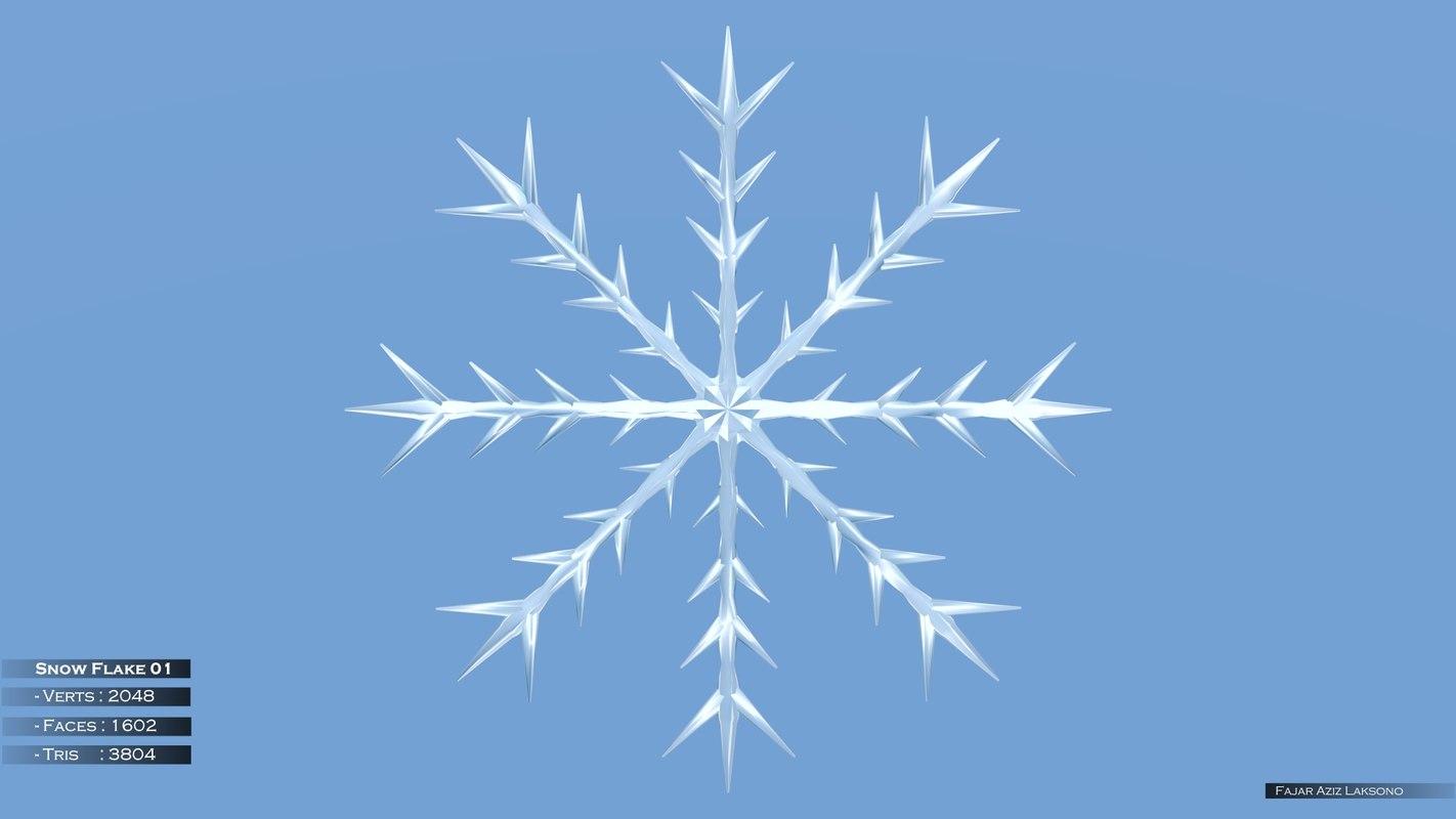 snow flakes 3d obj