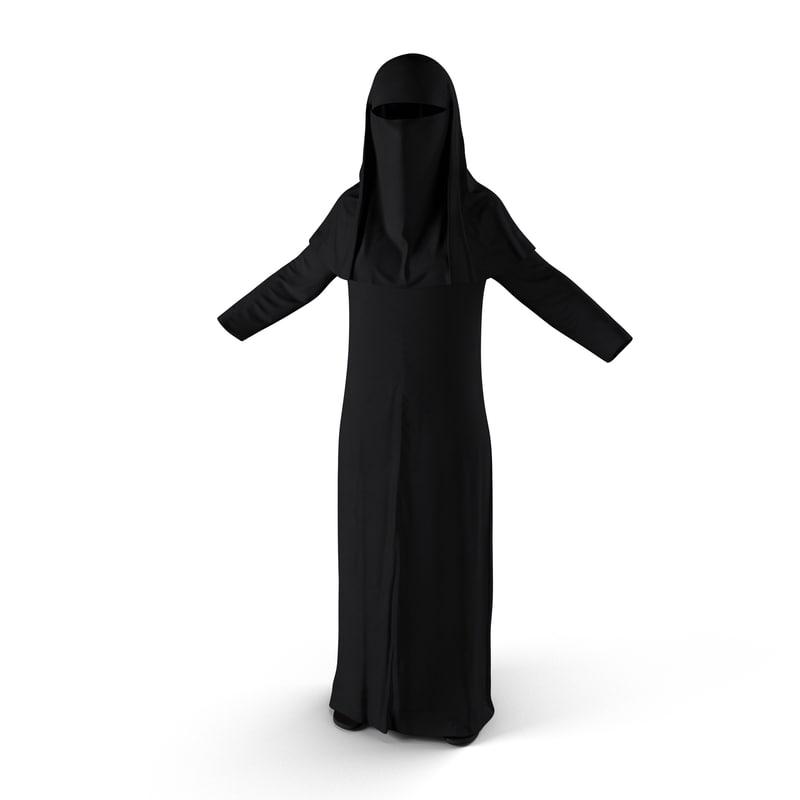 3d model traditional arab ladies dress
