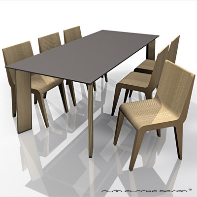 contemporary dining table 3d c4d