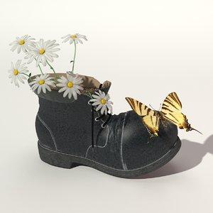 3d old shoe flowers