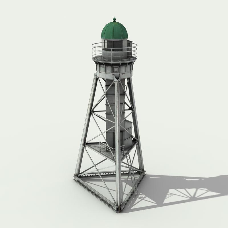 white metal lighthouse - 3d model