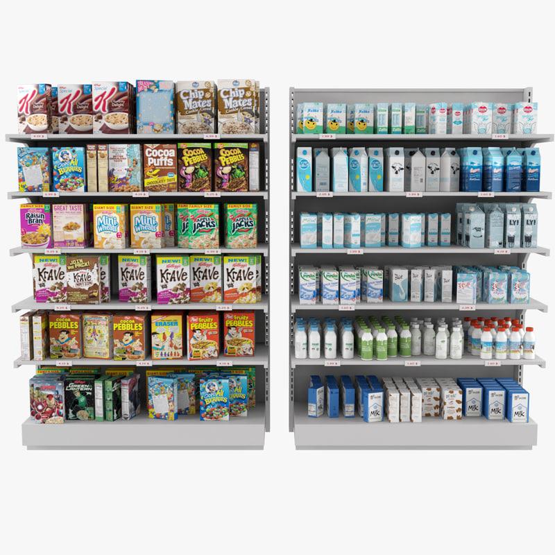 3d model display market shelves