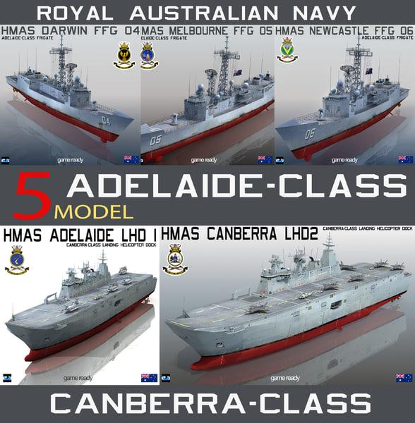hmas canberra royal australian 3d model
