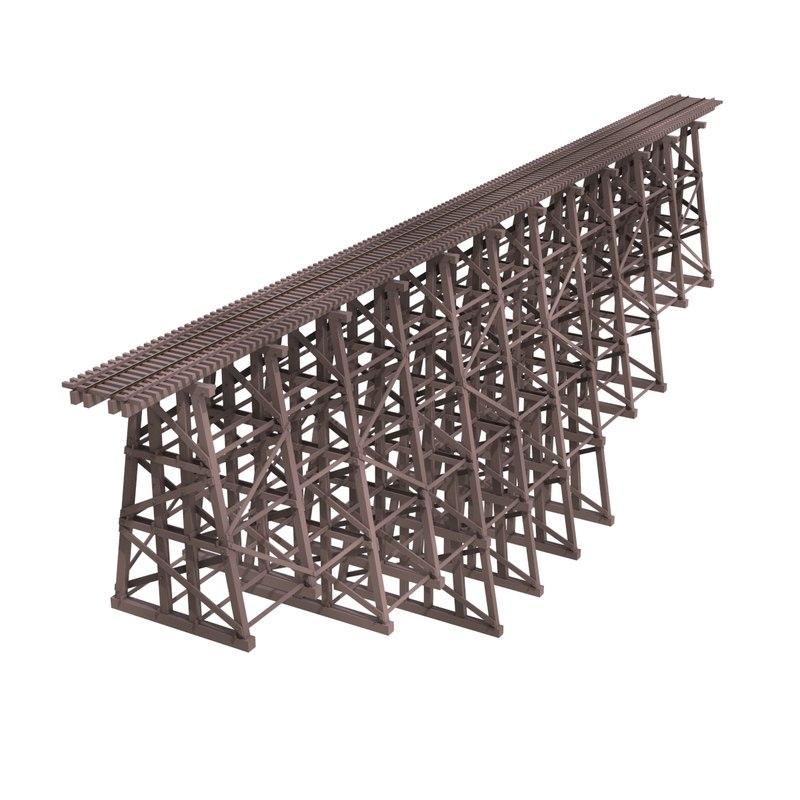 narrow gauge trestle bridge 3d obj