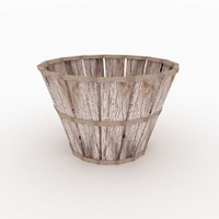 old wooden basket 3d obj