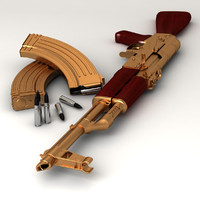 3d golden ak47 gun model